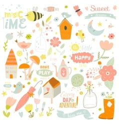 Cute print with spring ans summer vector