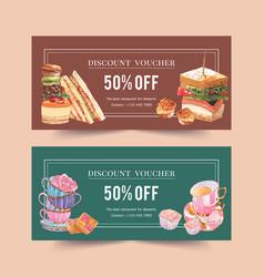 Dessert voucher design with sandwich macarons vector
