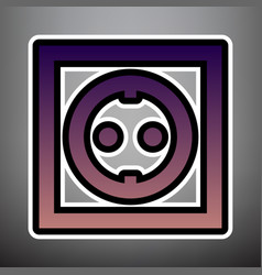 electrical socket sign violet gradient vector image