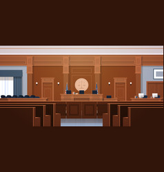 Empty courtroom with judge and secretary workplace vector