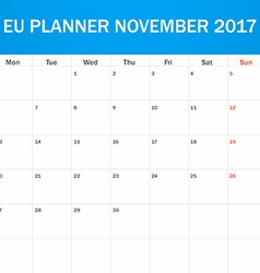 Eu planner blank for november 2017 scheduler vector