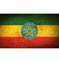 Flags Ethiopia with dirty paper texture vector image
