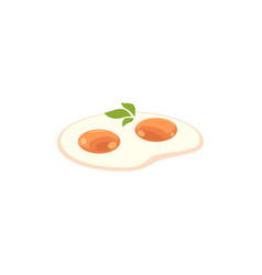 flat fried egg with greenery icon vector image