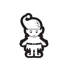 Flat icon in black and white Christmas elf vector