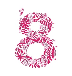 Floral number 8 for your design vector image
