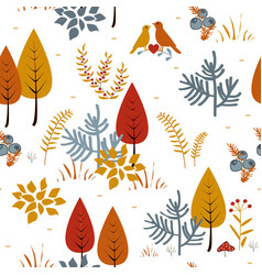 forest trees seamless pattern hand drawn vector image