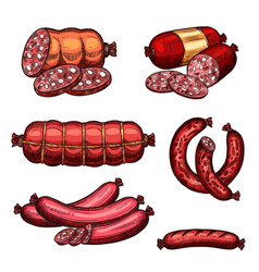 Fresh meat sausages products sketch icons vector