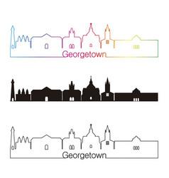 Georgetown skyline linear style with rainbow vector