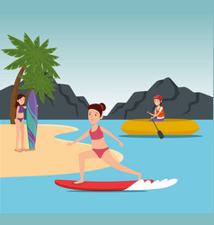 Girls training healthy fitness exercise vector