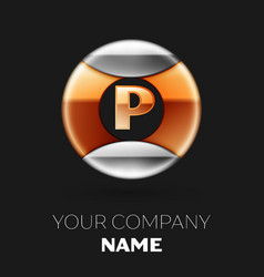 golden letter p logo in silver-golden circle vector image