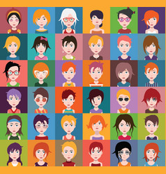 Group of people men and women avatar icons vector