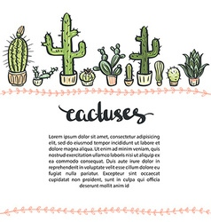 Hand drawn cactus set background Cactus vector