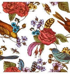 Hand Drawn Spring Seamless Pattern vector image