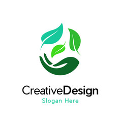 Hand leaf medical care creative business logo vector