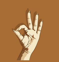 Hand show ok sign vector