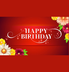 happy birthday floral lettering design birthday vector image