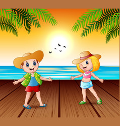 happy children on pier and looking a sunset la vector image