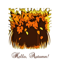 hello autumn greeting card template with fall vector image