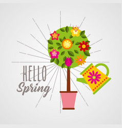 Hello spring poster with floral tree and sprinkler vector