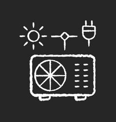 Hybrid air conditioner chalk white icon on black vector