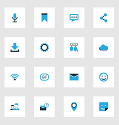 internet colorful icons set collection of cloud vector image