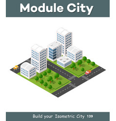 isometric 3d city vector image vector image