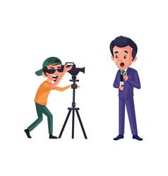 Journalist boy cartoon character vector