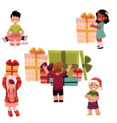 Kids children and christmas birthday presents set vector