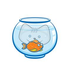 Kitten looks at goldfish in aquarium vector