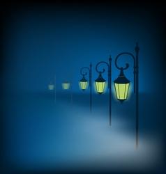 Lanterns stand in fog on dark blue vector image