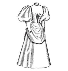 Late 19th century dress apron like drape vintage vector