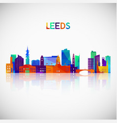 leeds skyline silhouette in colorful geometric vector image