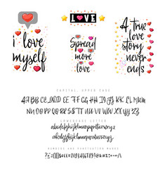 love quotes and script vintage lettering font vector image