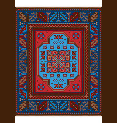 Luxury old carpet with bluebrown and red shades vector