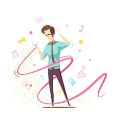 Man listening music design concept vector