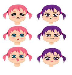 manga faces vector image