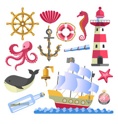 marine symbols underwater animals and ship with vector image