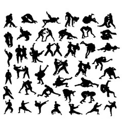Martial Arts Competition Silhouettes vector