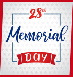 memorial day greeting card light star vector image