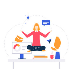 Mindfulness at work - colorful flat design style vector