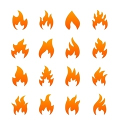 orange fire icons vector image