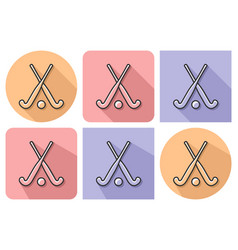 outlined icon of field hockey with parallel and vector image