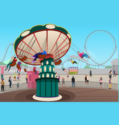 people having fun in amusement park vector image