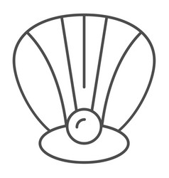 Perl in a shell thin line icon clam vector