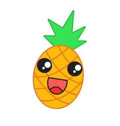 pineapple cute kawaii character vector image