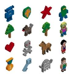 Pixel characters isometric vector image vector image