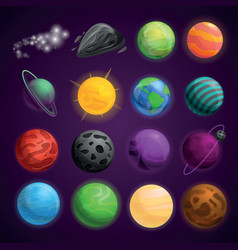 Planets space icon set cartoon style vector