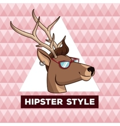 Portrait reindeeer hipster style pink geometric vector