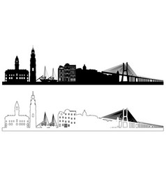 portugal skyline silhouettes vector image