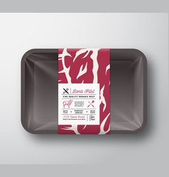 Premium quality lamb fillet container mock up vector